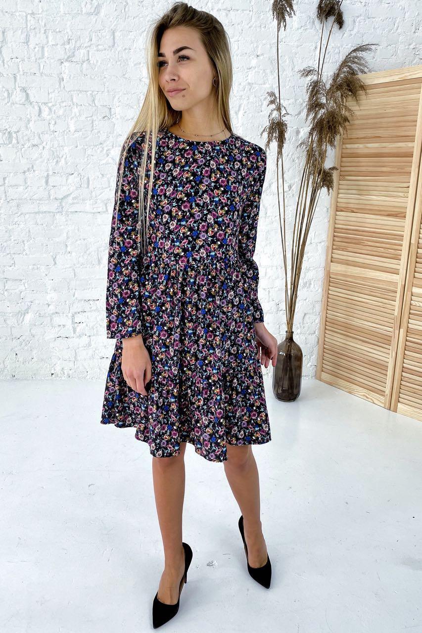 Романтичное платье в цветочный принт с рюшами Clew - синий цвет, S (есть размеры)