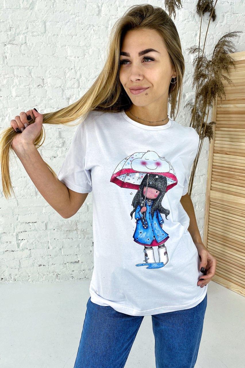 Милая хлопковая футболка с принтом девочка зонтик  LUREX - белый цвет, M (есть размеры)