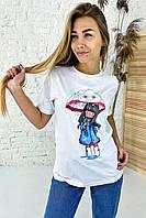 Милая хлопковая футболка с принтом девочка зонтик  LUREX - белый цвет, M (есть размеры), фото 1