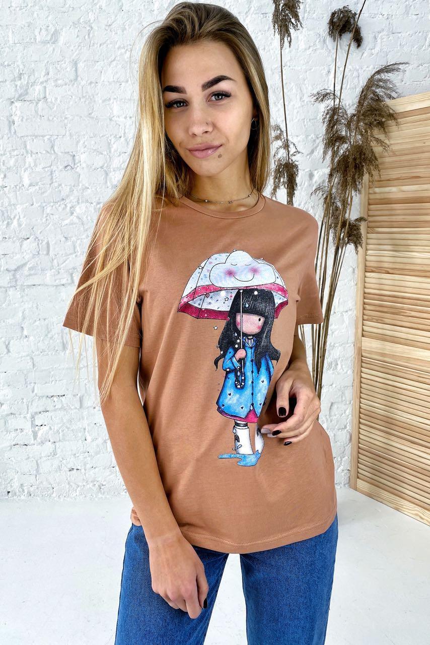 Милая хлопковая футболка с принтом девочка зонтик  LUREX - коричневый цвет, M (есть размеры)