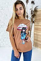 Милая хлопковая футболка с принтом девочка зонтик  LUREX - коричневый цвет, M (есть размеры), фото 1