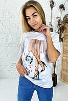 Интересная футболка с оригинальным принтом  LUREX - белый цвет, S (есть размеры), фото 1