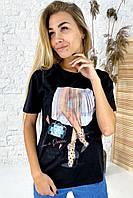 Интересная футболка с оригинальным принтом  LUREX - черный цвет, L (есть размеры), фото 1