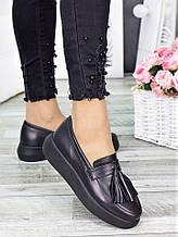 Туфлі лофери чорна шкіра 7279-28
