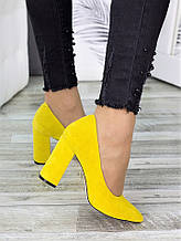 Туфлі на каблуці лимон замша 7283-28