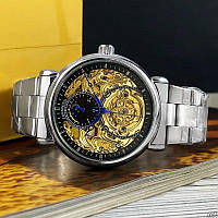Часы механика с автоподзаводом Forsining 8177 Silver-Gold