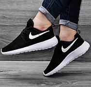 Женские кроссовки в стиле Nike Roshe Run Black White черно-белые