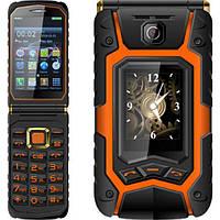 Защищенный противоударный телефон Land Rover X9 orange - сенсорная раскладушка батарея 16800mAh!