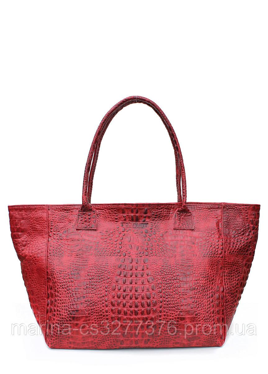 Кожаная сумка POOLPARTY Desire красная под крокодила на молнии женская