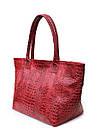 Кожаная сумка POOLPARTY Desire красная под крокодила на молнии женская, фото 2