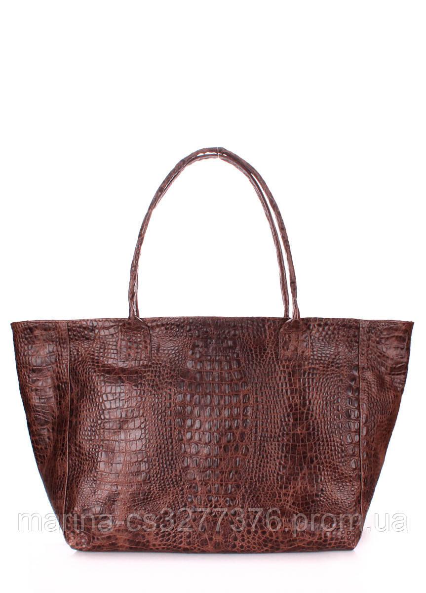 Кожаная сумка POOLPARTY Desire коричневая под крокодила на молнии женская