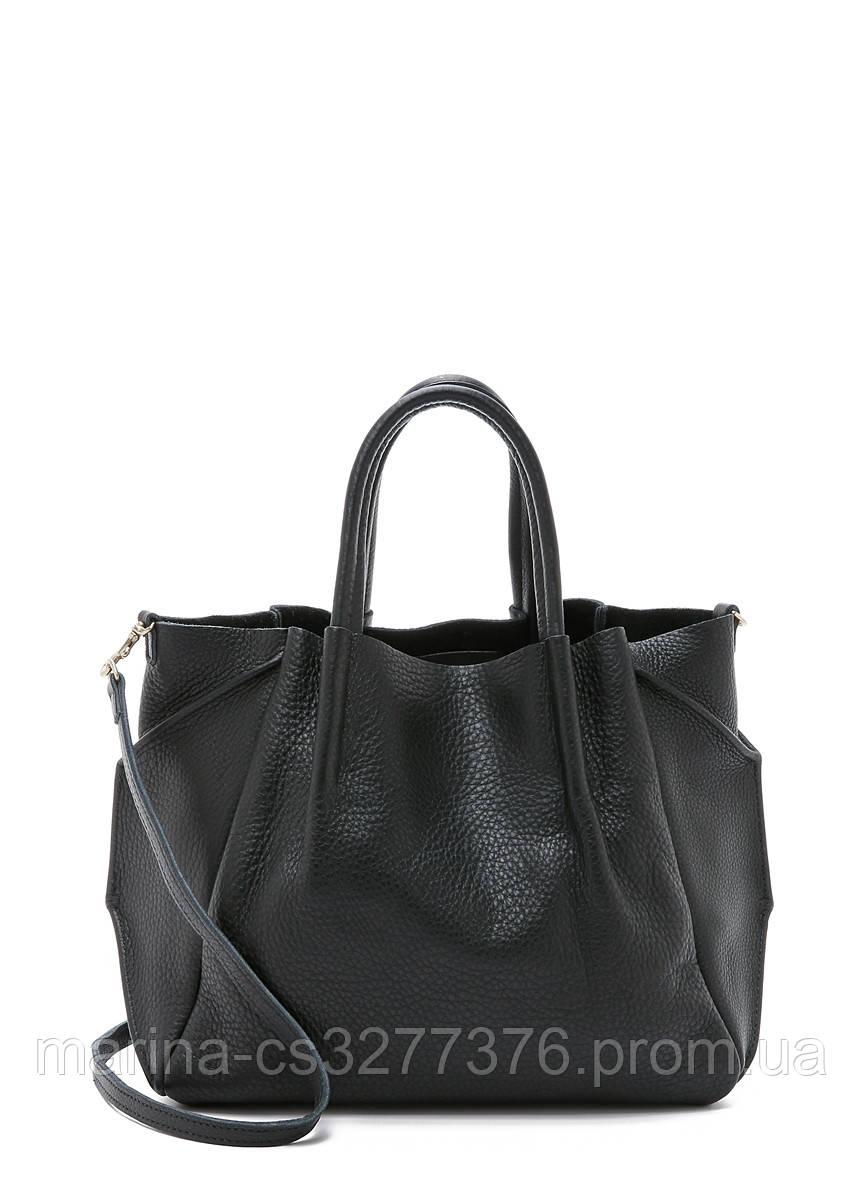 Кожаная сумка POOLPARTY Soho Remix черная повседневная женская