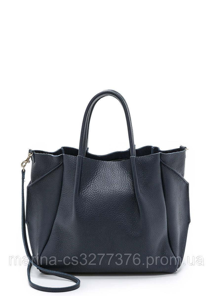 Кожаная сумка POOLPARTY Soho Remix с синим оттенком женская