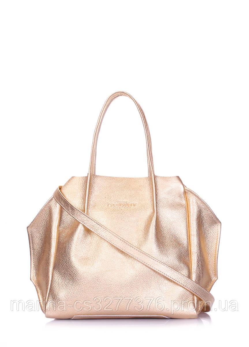 Кожаная сумка POOLPARTY Soho Remix золотая женская
