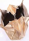 Кожаная сумка POOLPARTY Soho Remix золотая женская, фото 3