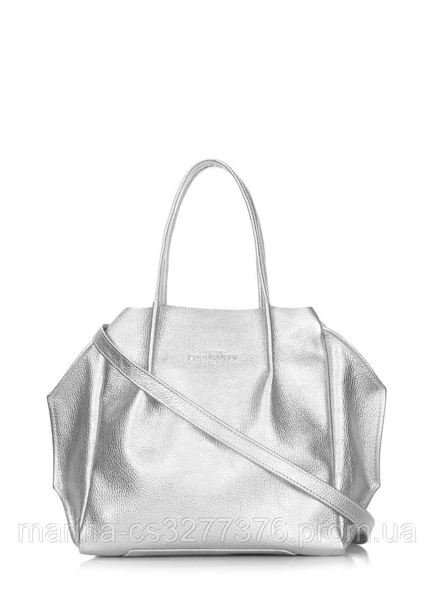 Кожаная сумка POOLPARTY Soho Remix серебряная повседневная женская