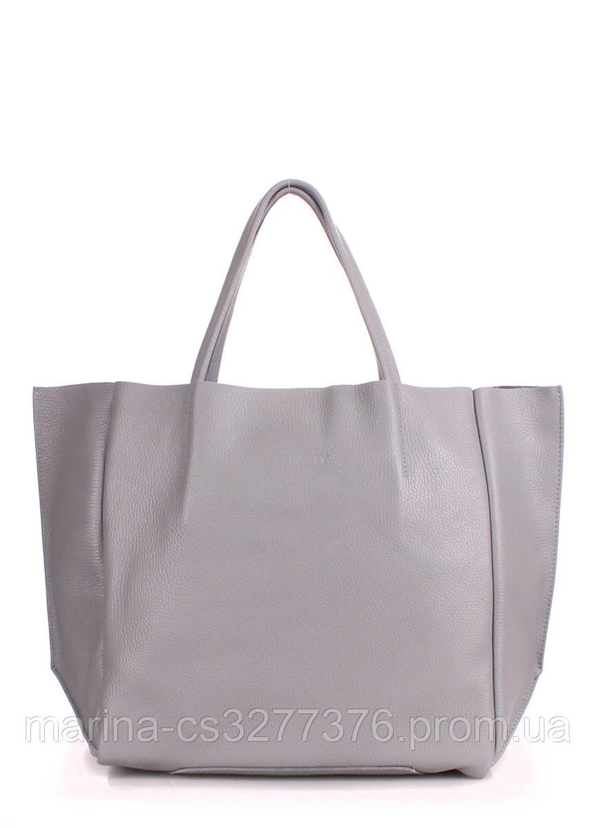 Кожаная сумка POOLPARTY Soho серая повседневная женская