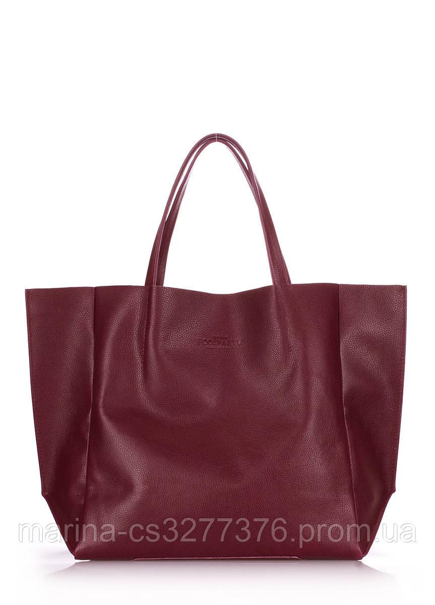 Кожаная сумка POOLPARTY Soho бордовая марсала женская