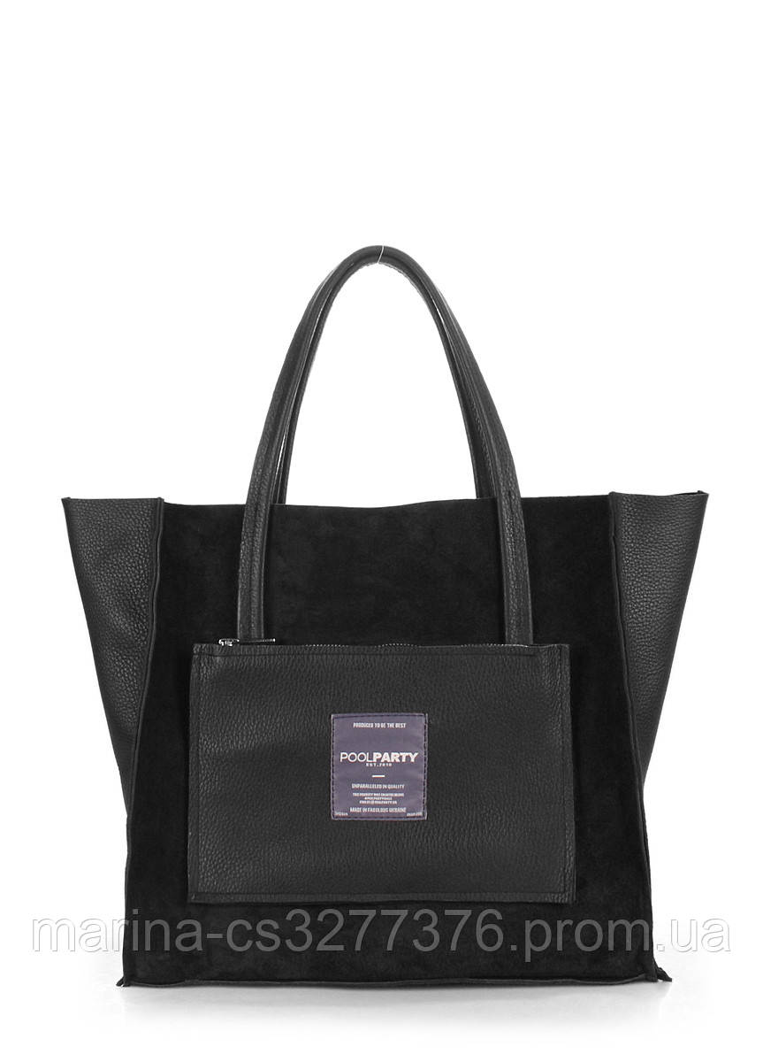 Кожаная сумка POOLPARTY Soho черная замшевая женская