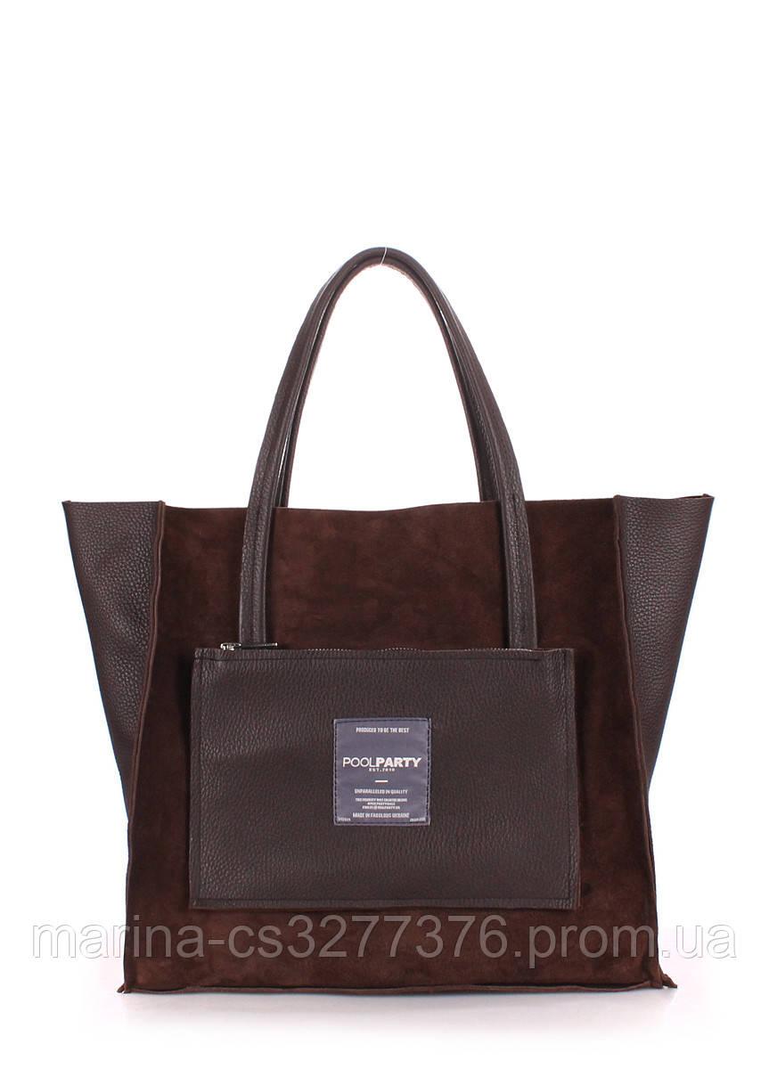Кожаная сумка POOLPARTY Soho коричневая женская с замшевыми вставками