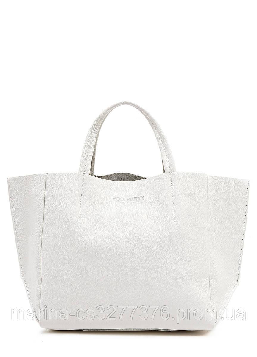 Кожаная сумка POOLPARTY Soho белая женская