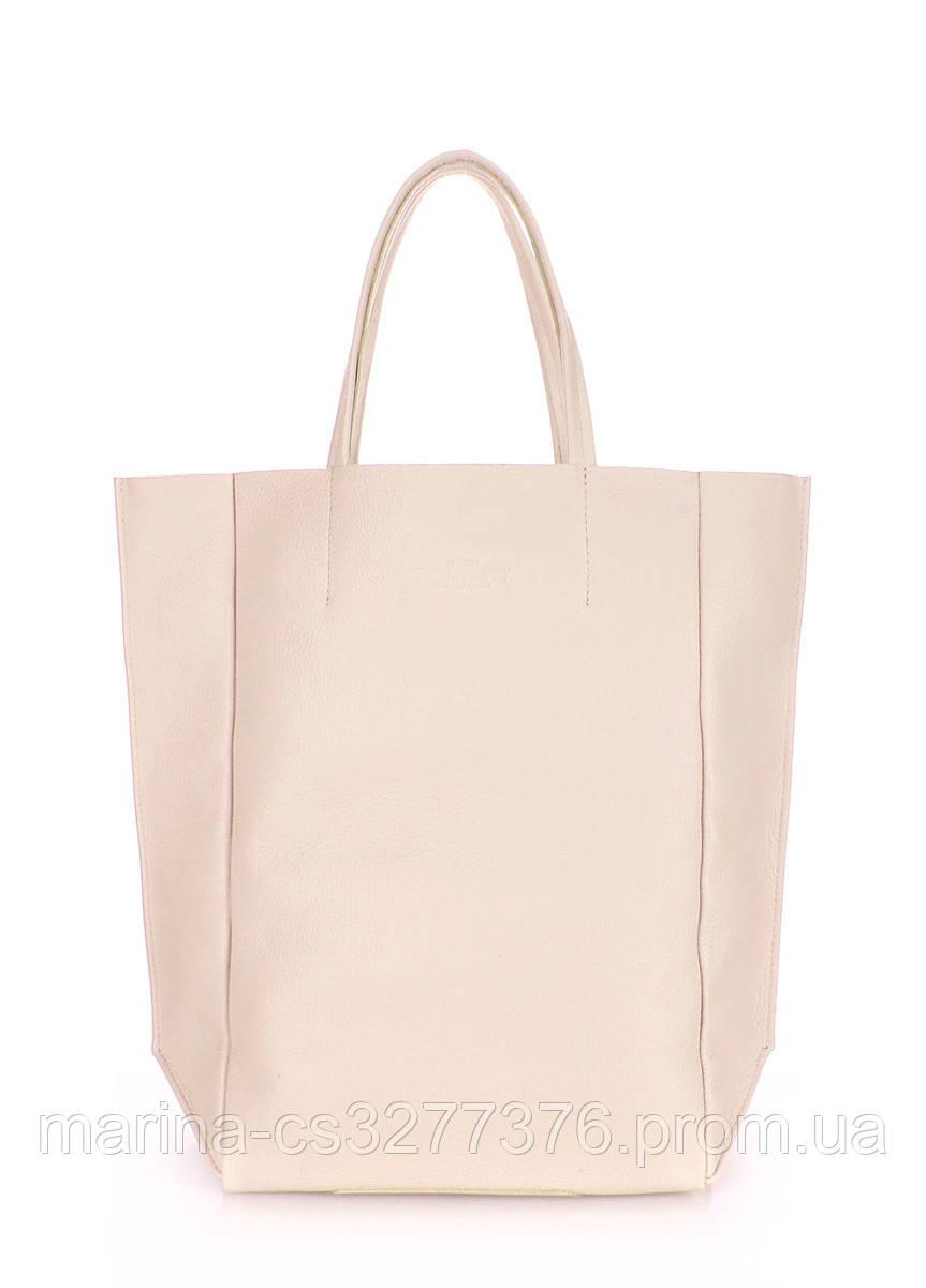 Кожаная сумка POOLPARTY BigSoho бежевая женская