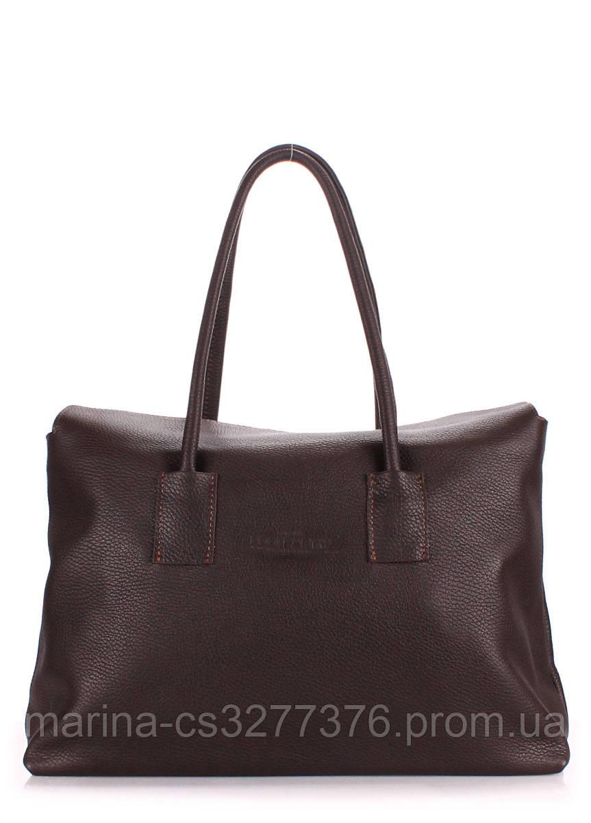 Кожаная сумка POOLPARTY Sense темно-коричневая женская