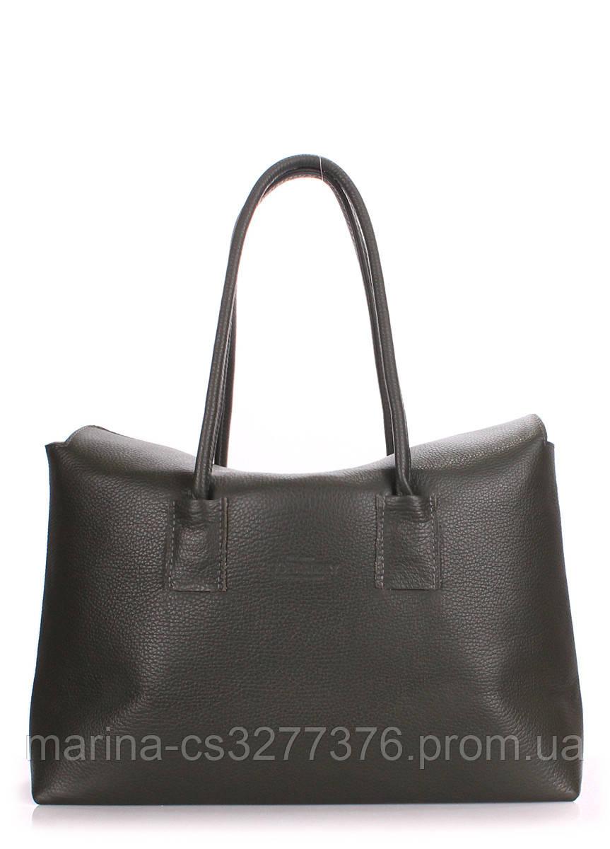 Кожаная сумка POOLPARTY Sense темная с зеленым оттенком женская