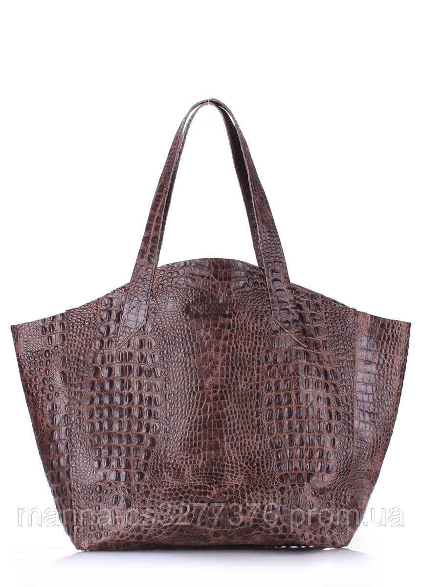 Кожаная сумка POOLPARTY Fiore коричневая под крокодила женская удобный шоппер