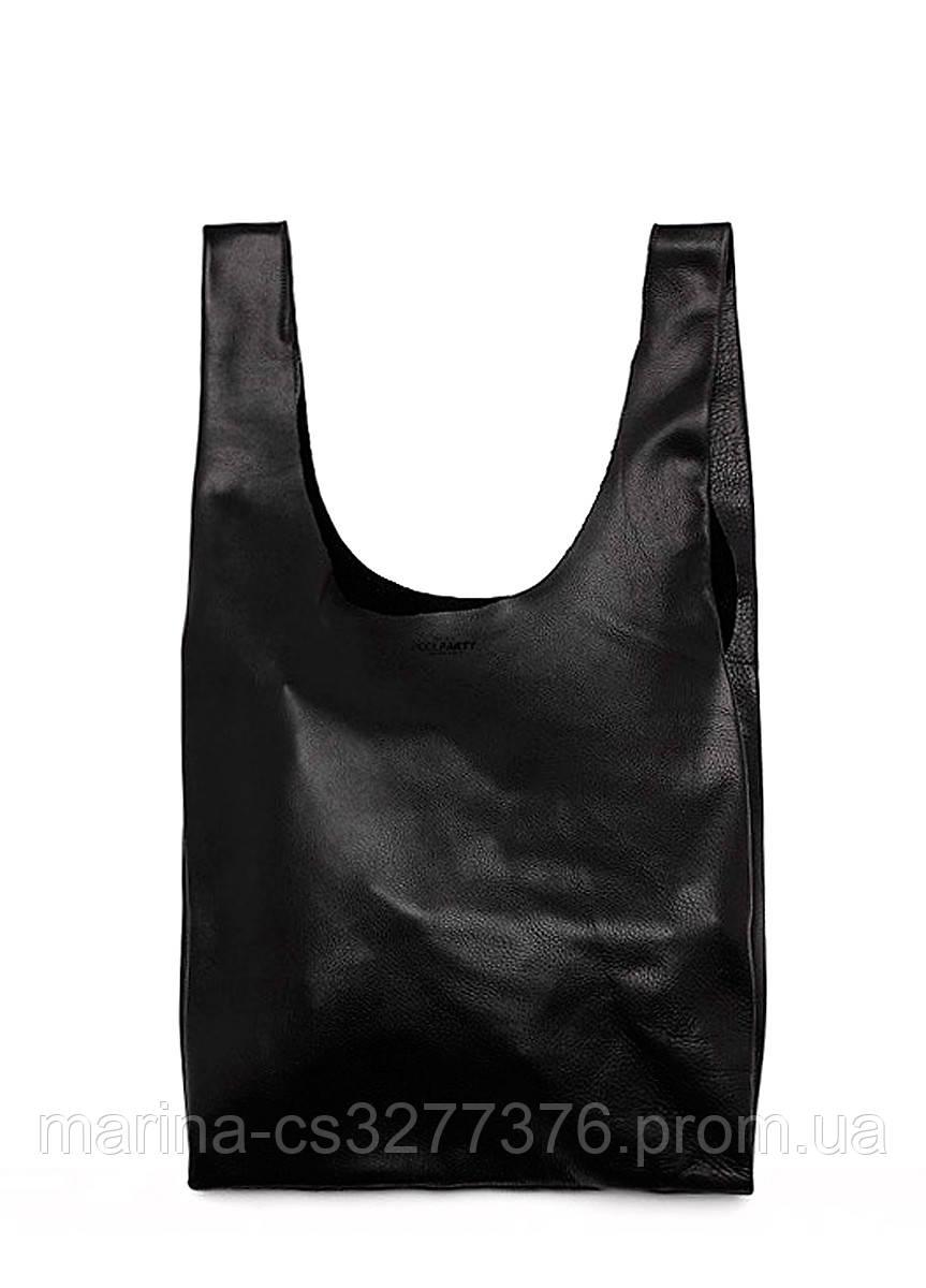 Кожаная сумка авоська POOLPARTY Tote черная пакет-майка унисекс