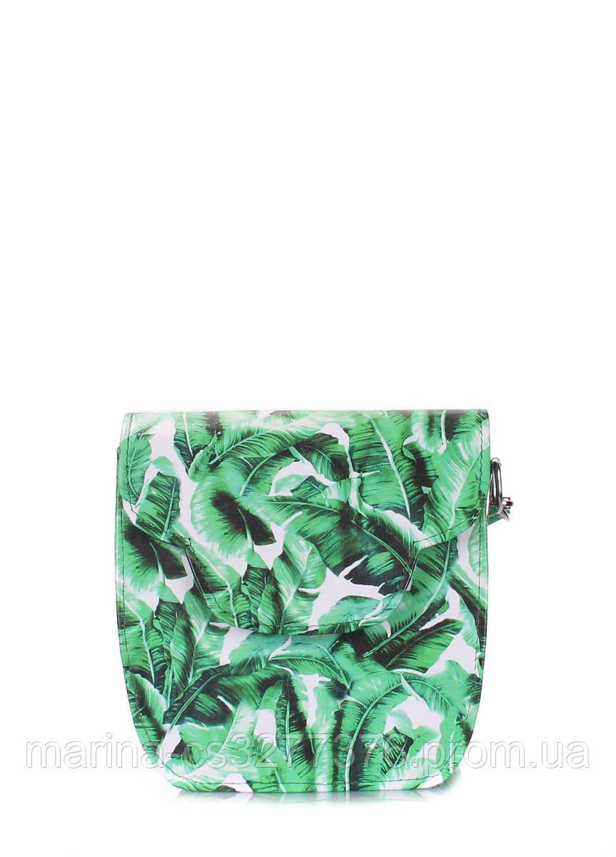 Сумка кожаная с зеленым принтом POOLPARTY Daisy женская летняя