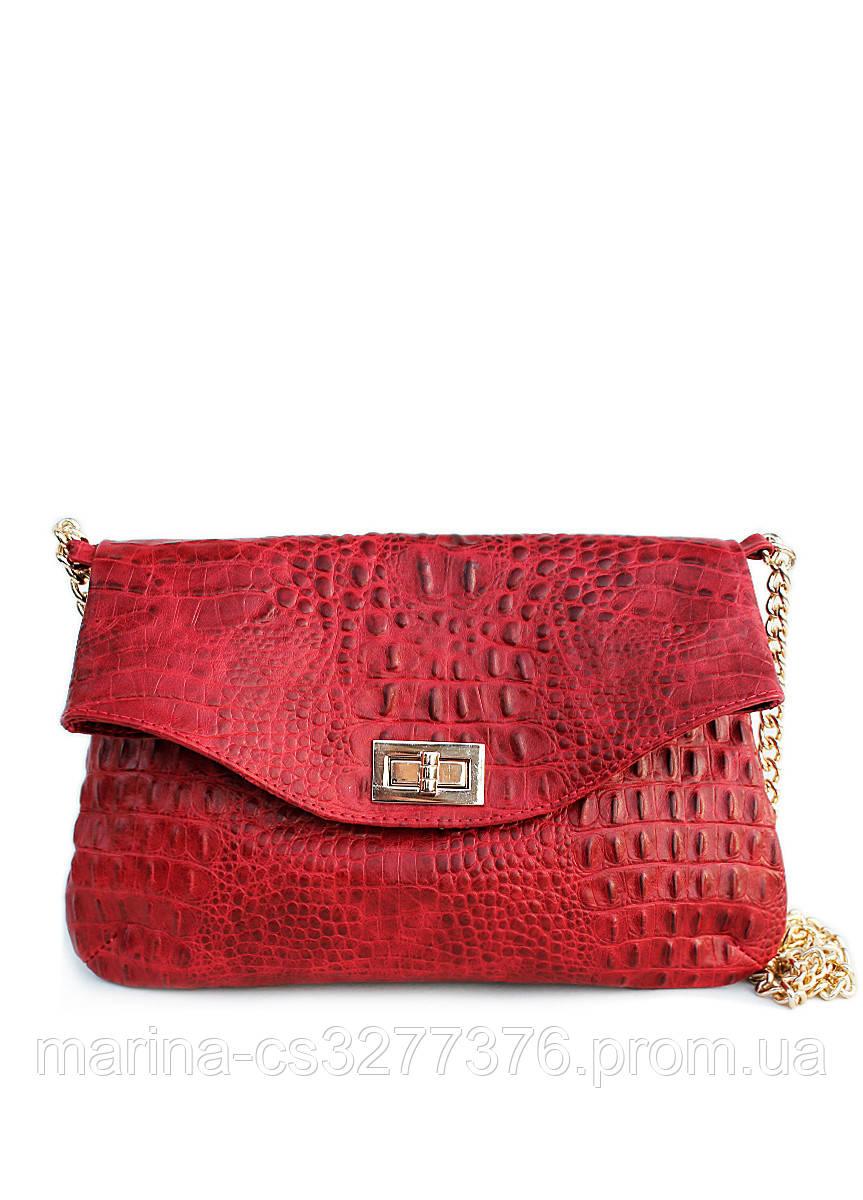 Кожаная сумочка-клатч под крокодила POOLPARTY с цепочкой красная женская