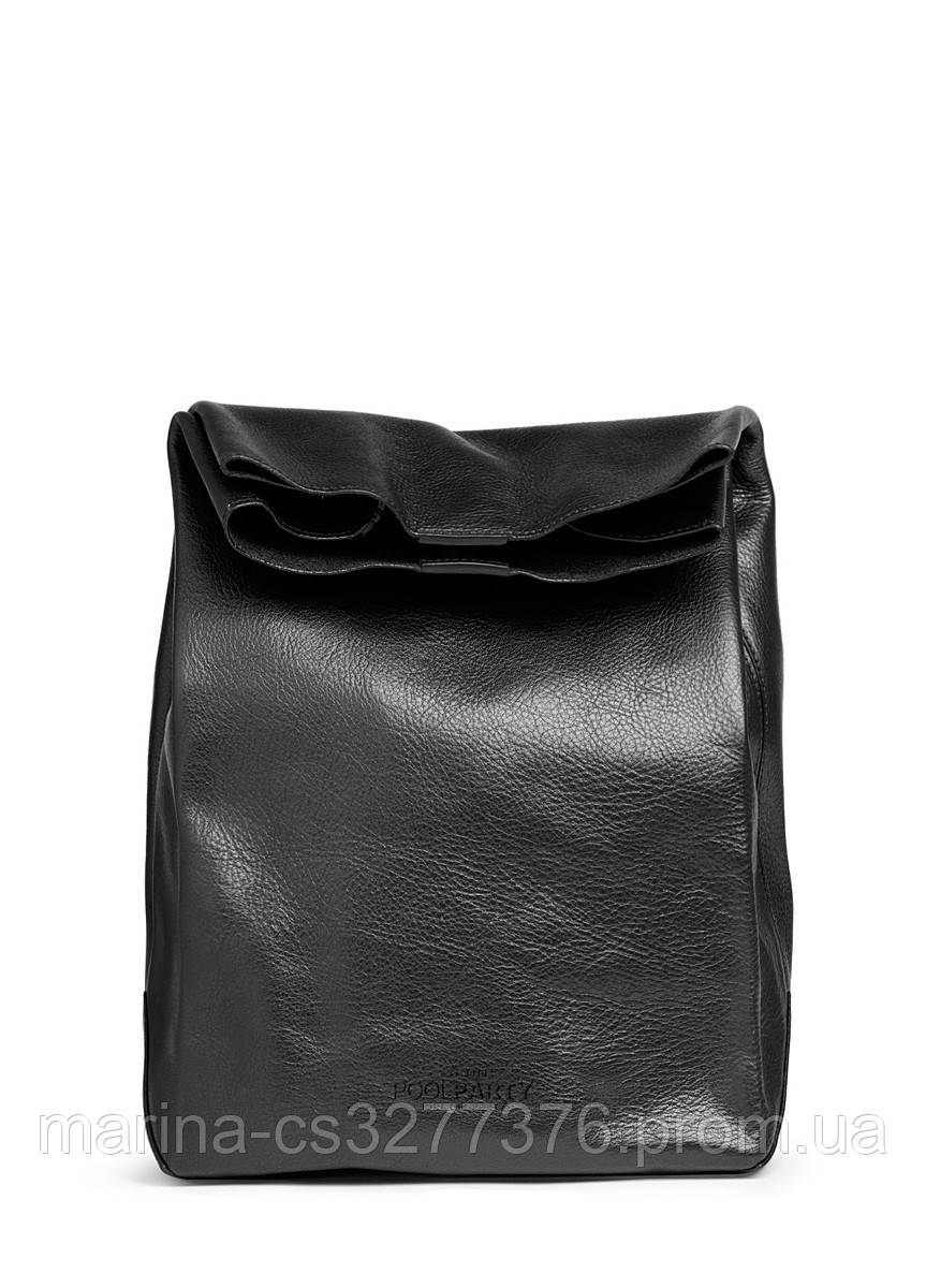 Кожаная сумка-клатч POOLPARTY Lunchbox черная женская