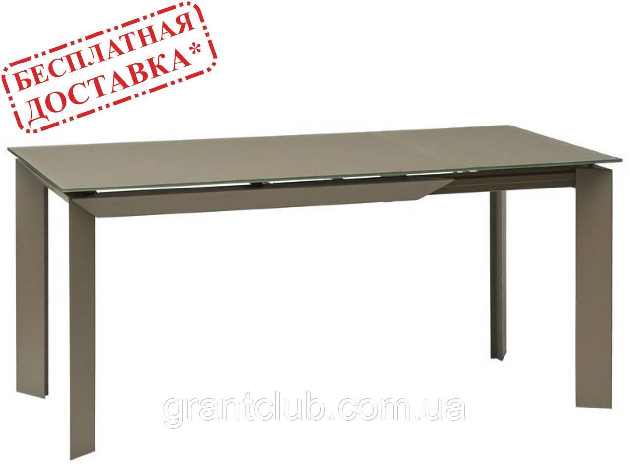 Обеденный стол VERMONT MATT LATTE 120/170х80 латте матовый стекло Concepto (бесплатная доставка)