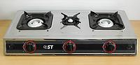 Плита газовая настольная (таганок на 3 конфорки, НЕРЖ., пьезо розжиг) Saturn ST  63-010-14