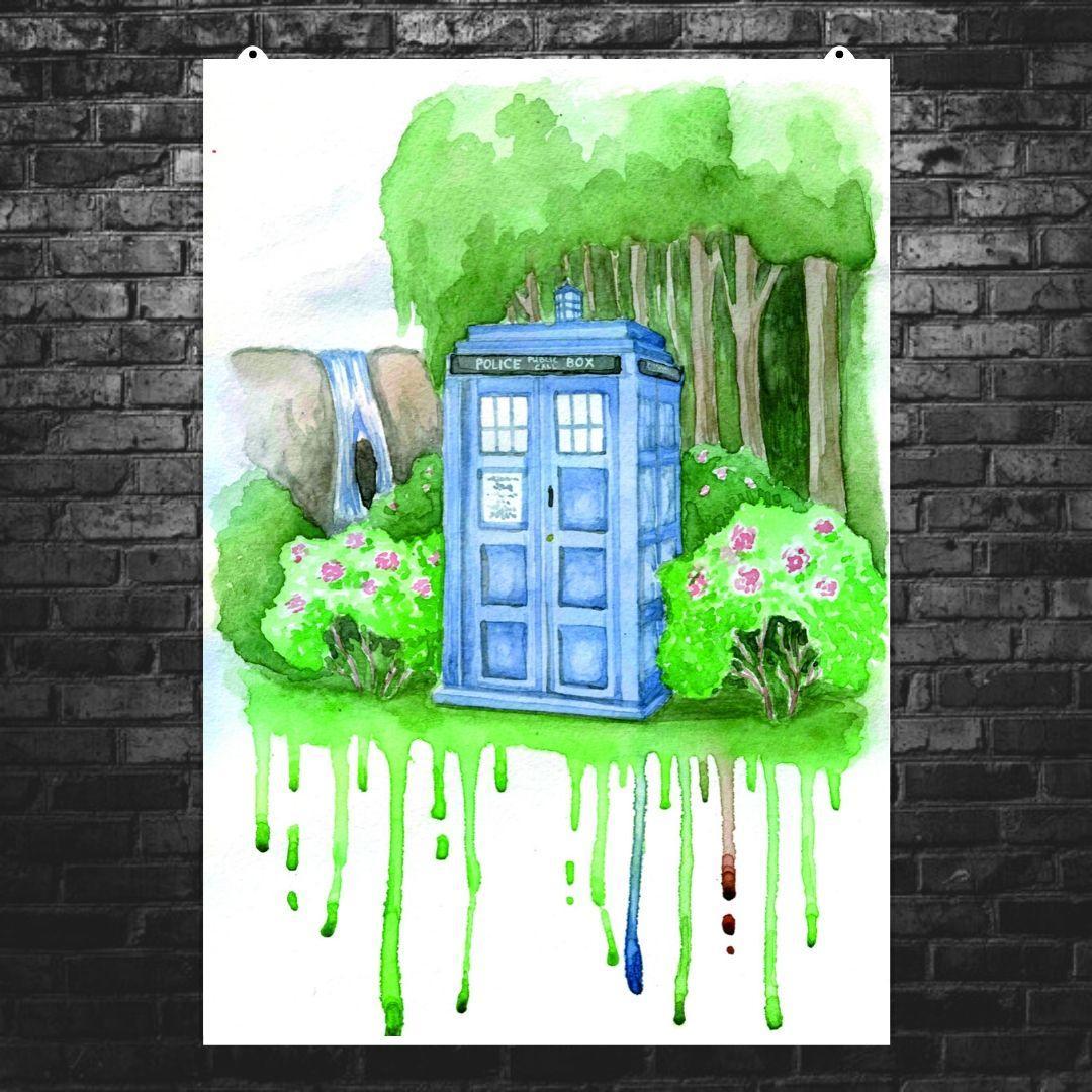 """Постер """"Dr.Who. Тардис, акварель, репродукция"""". Доктор Кто, Tardis. Размер 60x43см (A2). Глянцевая бумага"""