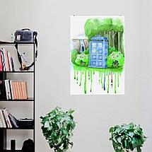 "Постер ""Dr.Who. Тардис, акварель, репродукция"". Доктор Кто, Tardis. Размер 60x43см (A2). Глянцевая бумага, фото 3"