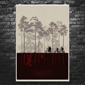 """Постер """"Stranger Things. Велосипедисты на фоне леса"""". Очень Странные Дела, сериал. Размер 60x42см (A2). Глянцевая бумага"""