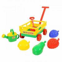 Іграшка для піску Polesie Візок з ручкою, лопата, формочки, лійка (45713), фото 1