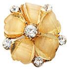 Кольцо Женское Коктейльное Цветок, под Золото, Кремовое, Безразмерное, Кольца Женские, Бижутерия, фото 3