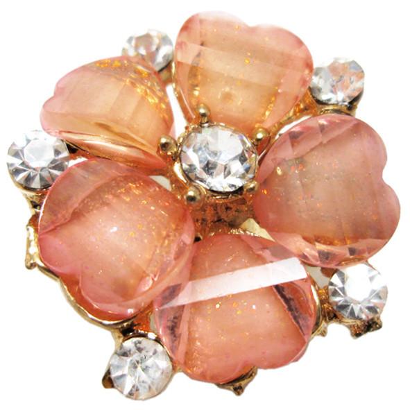 Кольцо Женское Коктейльное Цветок, под Золото с Розовыми Акриловыми Вставками и Стразами. Безразмерное