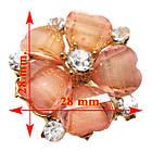 Кольцо Женское Коктейльное Цветок, под Золото с Розовыми Акриловыми Вставками и Стразами. Безразмерное, фото 2