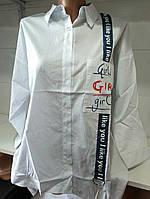 Рубашка с карманом/ надписями женская GIRLS (ПОШТУЧНО) S/46, фото 1