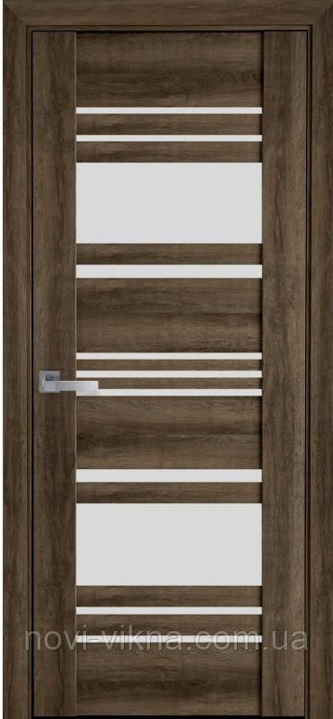 Дверь межкомнатная Ницца Бук Табачный 900 мм со стеклом сатин (матовое), ПВХ Viva.