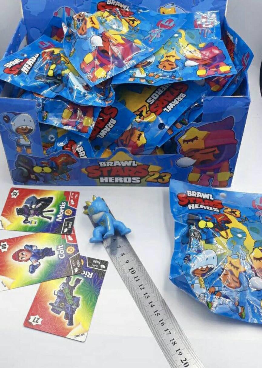 Набор Brawl Stars 3 карточки + фигурка