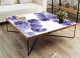 Виниловая наклейка на стол Василек 01 (интерьерные наклейки на столы мебель голубые цветы на белом фоне), 600*1200 мм
