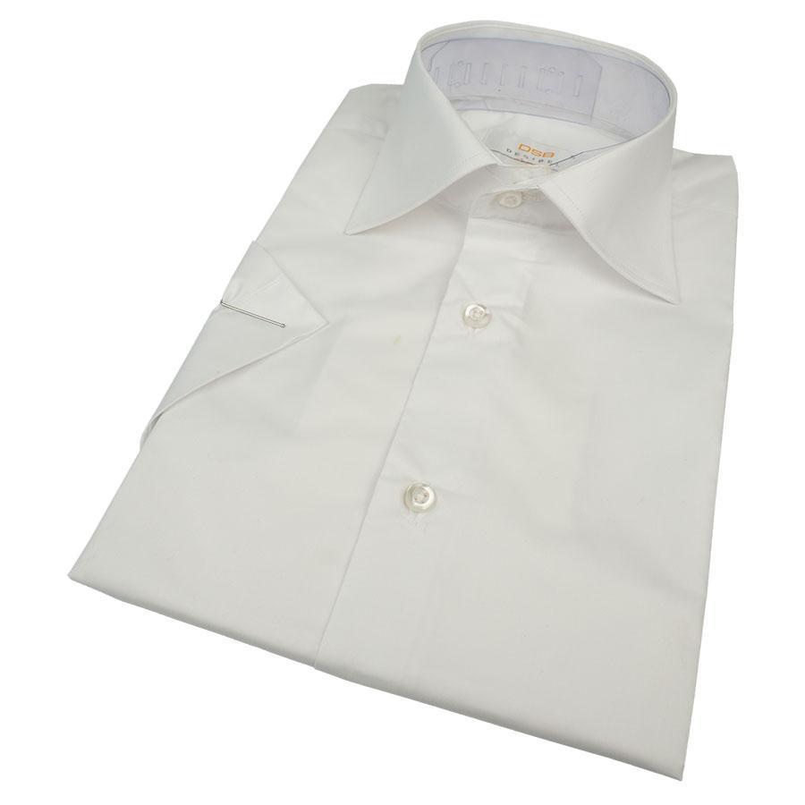 Однотонная классическая белая рубашка Desibel WHITE Classic K короткий рукав