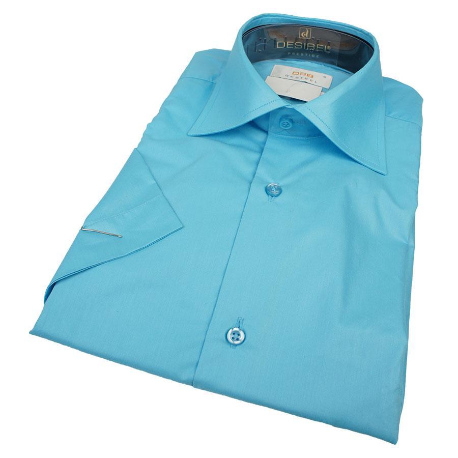 Рубашка мужская приталенная Desibel 28047 Slim K  цвет морская волна