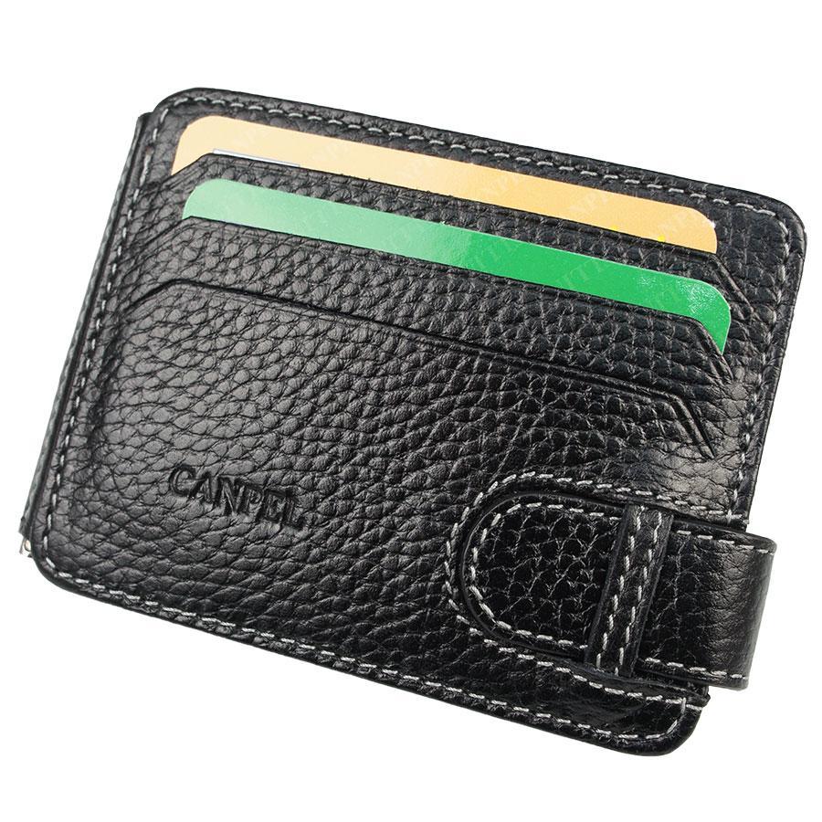 Якісний чоловічий шкіряний затиск для грошей в чорному кольорі Canpellini 092-1 black