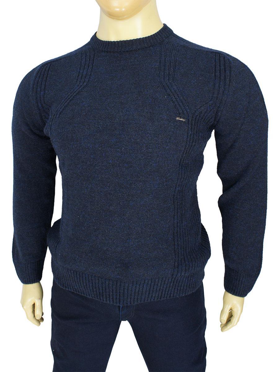 Однотонный мужской свитер Woolstone 18327 B Lacivert  в большом размере